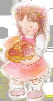 パンをもってうつむく少女のイラスト画像171px-323px