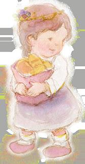 パンをもって横を向く少女のイラスト画像167px-321px