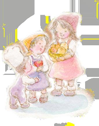 パンやリンゴを持つ3人の少女のイラスト画像342px-437px